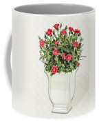 Pot Of Red Roses On Lace Background Coffee Mug