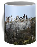 Puffins On A Cliff Edge Coffee Mug