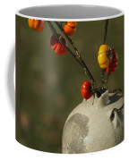 Pumpkin On A Stick In An Old Primitive Moonshine Jug Coffee Mug by Kathy Clark