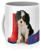 Puppies With A Childs Rain Boots Coffee Mug