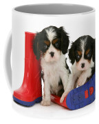 Puppies With Rain Boats Coffee Mug