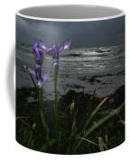 Purple Irises On Beach Coffee Mug
