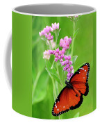 Queen Butterfly And Pink Flowers Coffee Mug