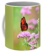 Queen Butterfly Sitting On Pink Flowers Coffee Mug