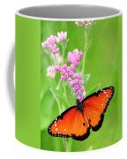 Queen Butterfly Wings With Pink Flowers Coffee Mug
