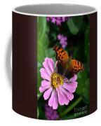 Question Mark Butterfly And Zinnia Flower Coffee Mug