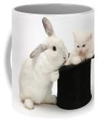 Rabbit And Kitten In Top Hat Coffee Mug