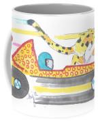 Race Car And Cheetah Cartoon Coffee Mug