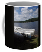Racks Of Canoe's On Bear Pond Lake In The Adirondacks Ny Coffee Mug