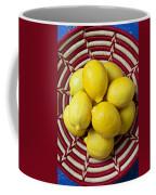 Red And White Basket Full Of Lemons Coffee Mug by Garry Gay