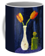 Red And Yellow Tulips In Vase Abstract Palette Knife Painting Coffee Mug