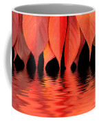 Red Autumn Leaves In Water Coffee Mug