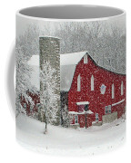 Red Barn In Heavy Snow Coffee Mug