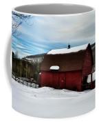 Red Barn In The Snow Coffee Mug