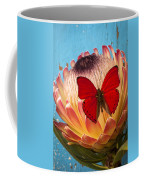 Red Butterfly On Protea Coffee Mug