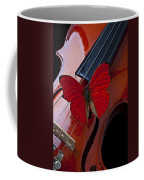 Red Butterfly On Violin Coffee Mug by Garry Gay