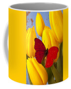 Red Butterful On Yellow Tulips Coffee Mug