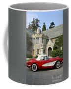 Red Corvette Outside The Playboy Mansion Coffee Mug