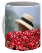 Red Flowers And Straw Hat Coffee Mug