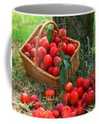 Red Fresh Plums In The Basket Coffee Mug