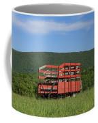 Red Hay Wagon In Green Mountain Field Coffee Mug