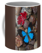 Red Leaf And Blue Butterfly Coffee Mug