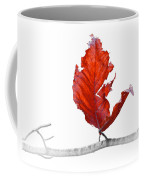 Red Leaf Of Autumn On White Coffee Mug