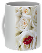 Red Lips And White Roses Coffee Mug