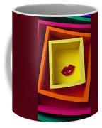 Red Lips In Yellow Box Coffee Mug
