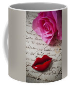 Red Lips On Letter Coffee Mug