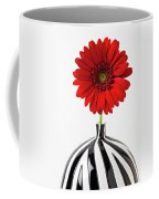 Red Mum In Striped Vase Coffee Mug