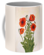Red Poppies Watercolor Painting Coffee Mug