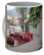 Red Rail Walkway To Varenna Along Lake Como Coffee Mug