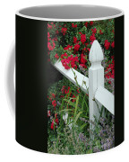 Red Rhododendron And White Post Coffee Mug