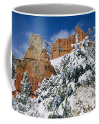 Red Rock Formations Poke Through A Late Coffee Mug