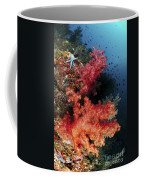 Red Soft Corals And Blue Leather Sea Coffee Mug