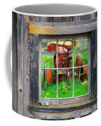 Red Tractor Thru Old Window Coffee Mug