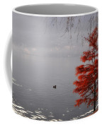 Red Tree On The Lake Front Coffee Mug