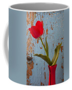 Red Tulip Bending Coffee Mug