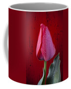 Red Tulip With Dew Coffee Mug