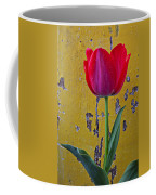 Red Tulip With Yellow Wall Coffee Mug
