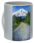 Road Leading To Snow Covered Mount Shasta Coffee Mug