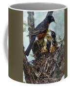Robin And Babies In Nest Coffee Mug