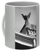 Rooftop Gargoyle Statue Above French Quarter New Orleans Black And White Diffuse Glow Digital Art Coffee Mug by Shawn O'Brien