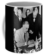 Roosevelt Signing Declaration Of War Coffee Mug