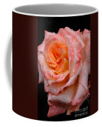 Rose And Raindrops On Black Coffee Mug