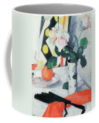 Roses In A Chinese Vase With Black Fan Coffee Mug