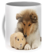 Rough Collie Pup And Yellow Guinea Pig Coffee Mug