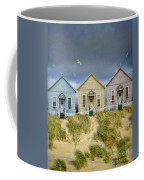 Row Of Pastel Colored Beach Cottages Coffee Mug