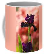 Royal Purple Tall Bearded Iris With Peachy Azalea Background Coffee Mug